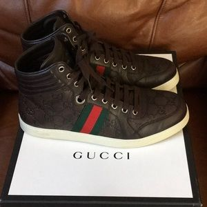 "GUCCI BROWN LEATHER ""GG""HI TOP SNEAKERS#221825"